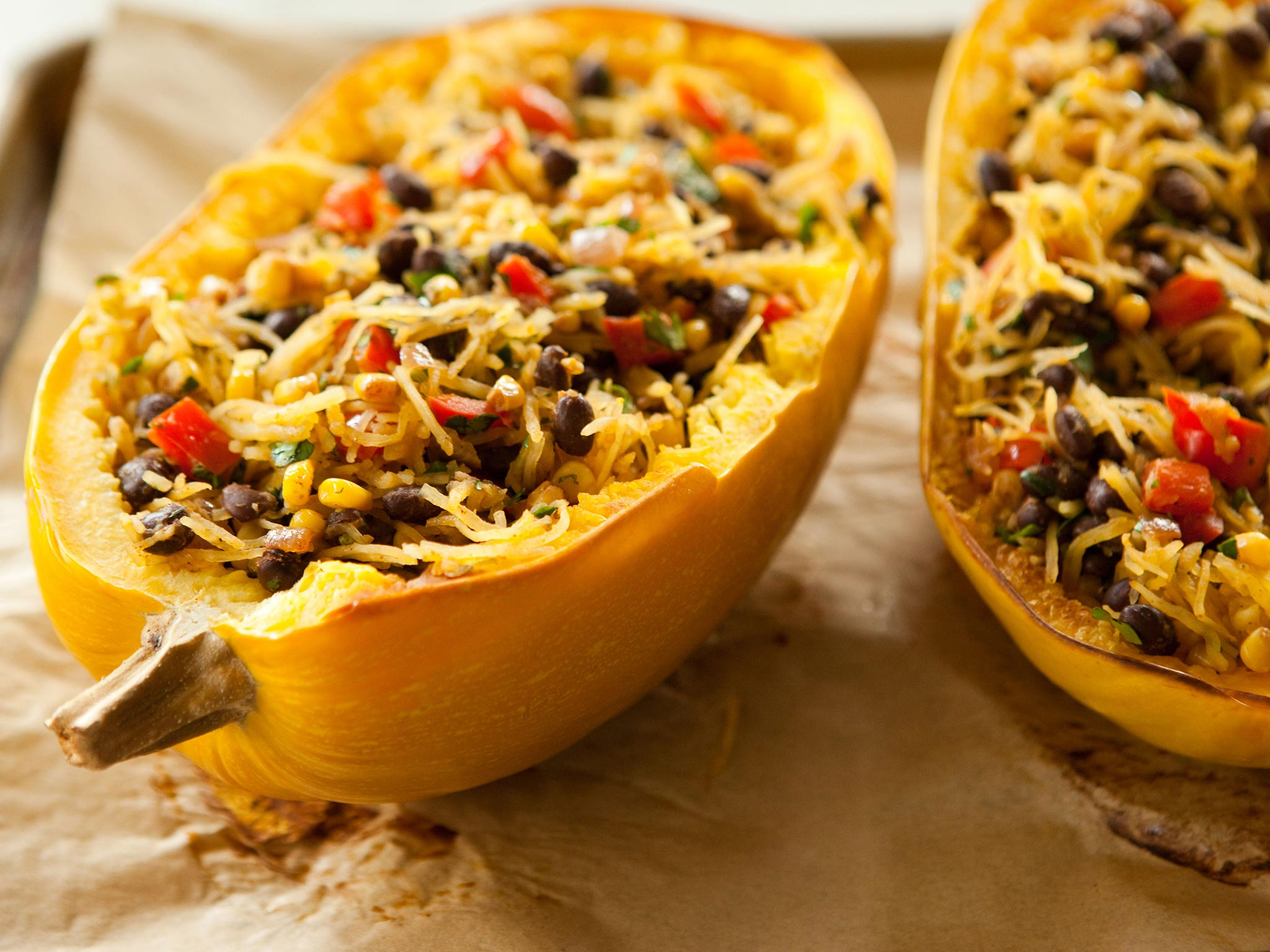 Recipe Spicy Spaghetti Squash With Black Beans Whole Foods Market