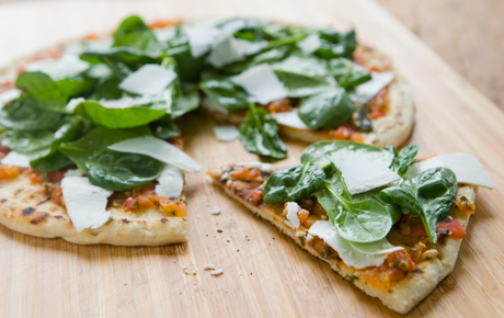 Spinach and Ricotta Salata Grilled Pizza