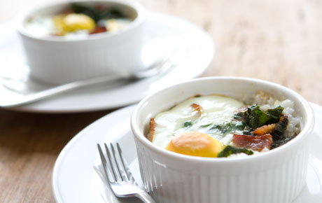 Southern-Style Baked Eggs with Grits and Collard Greens