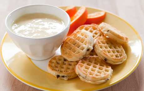 Mini Blueberry Waffles with Orange Cream Yogurt Dip