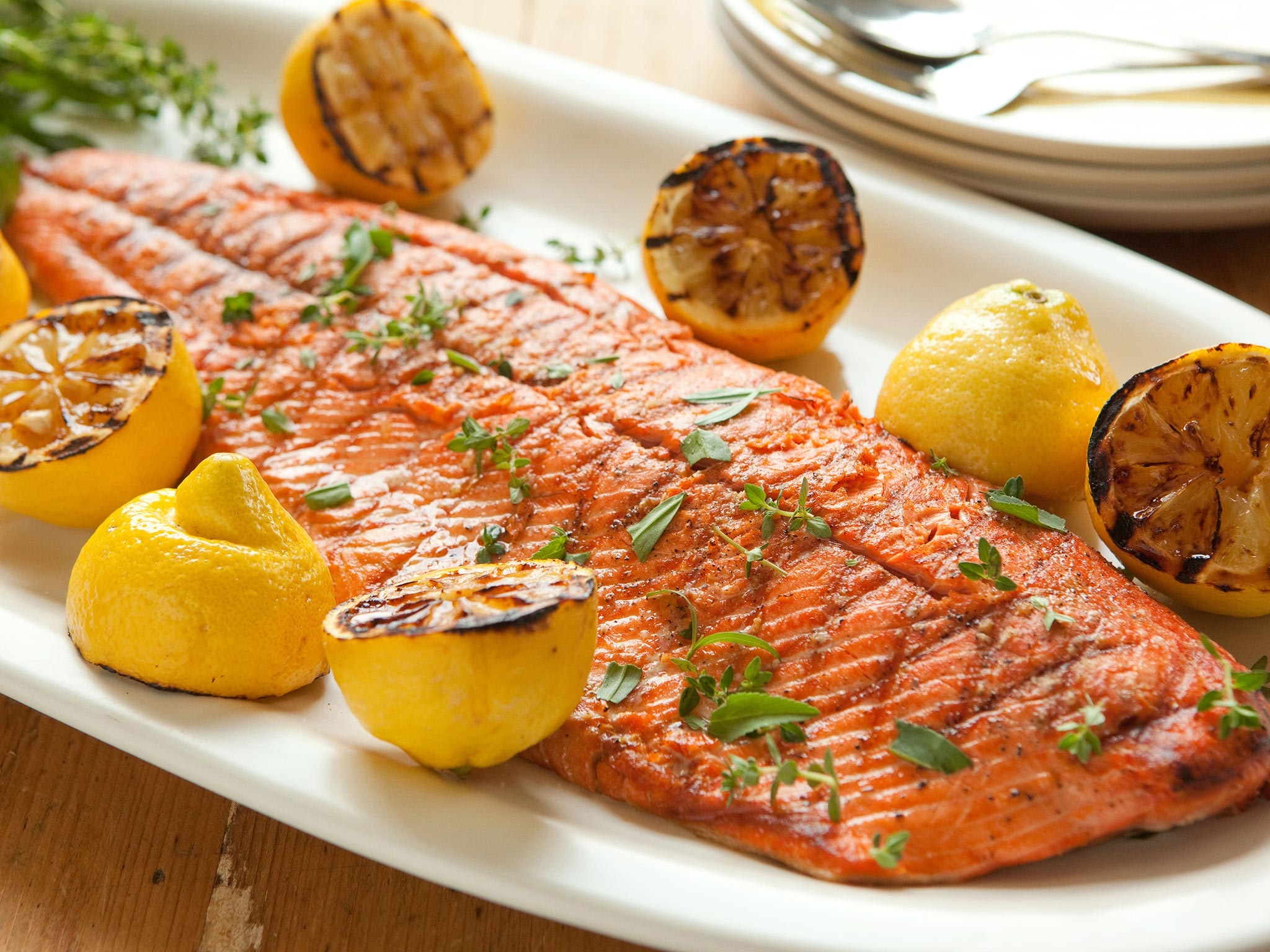 Recipe Grilled Salmon And Lemons With Herbs Whole Foods Market
