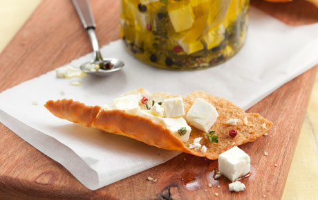 Marinated Feta Cheese with Lemon and Fresh Herbs