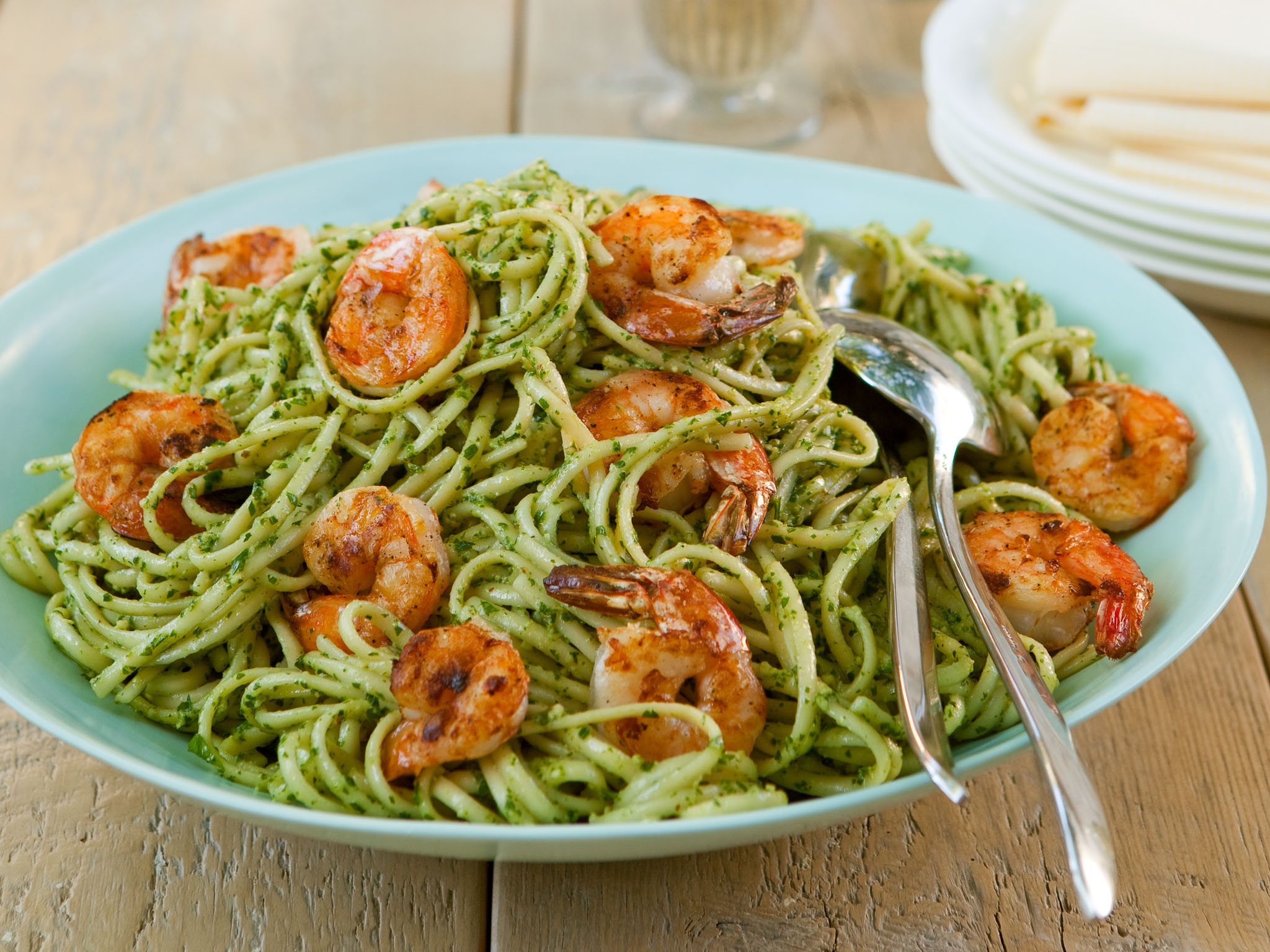 Linguine With Grilled Shrimp And Arugula Parsley Pesto
