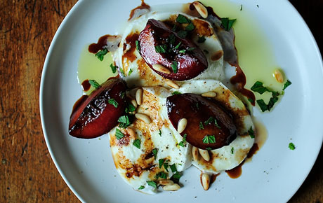 Recipe Buffalo Mozzarella With Balsamic Glazed Plums Pine Nuts And Mint Whole Foods Market