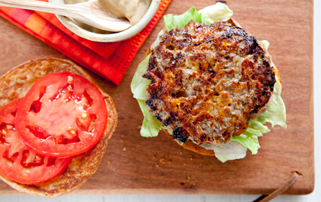 Apple and Cheddar Grass-Fed Beef Burgers