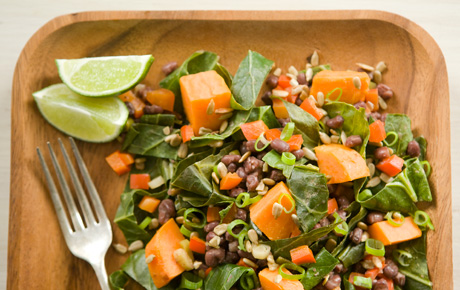 Sweet Potatoes with Collard Greens and Adzuki Beans
