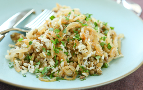 Lentils, Brown Rice and Caramelized Onions Recipe