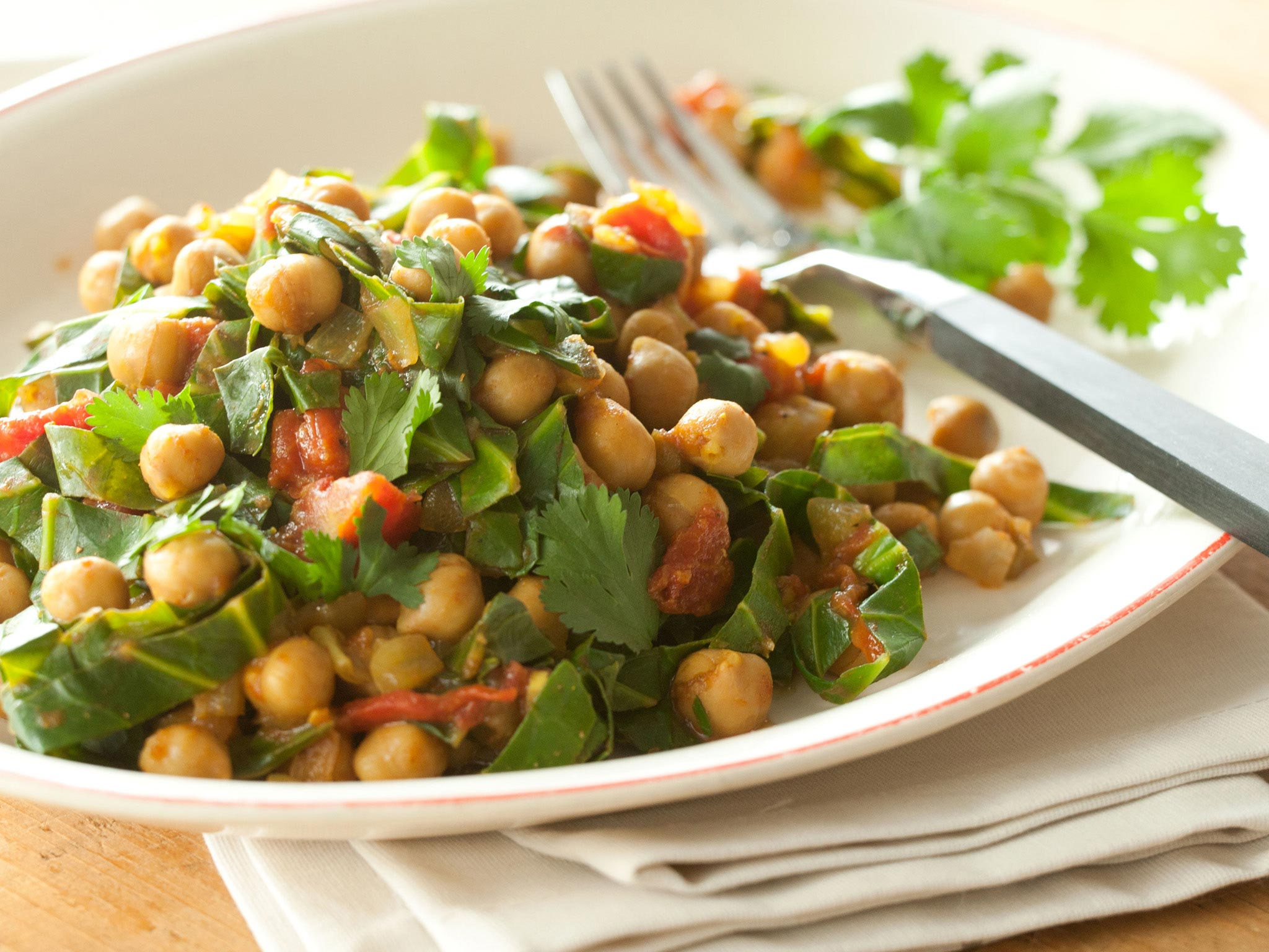 Indian-Style Spiced Garbanzos and Greens