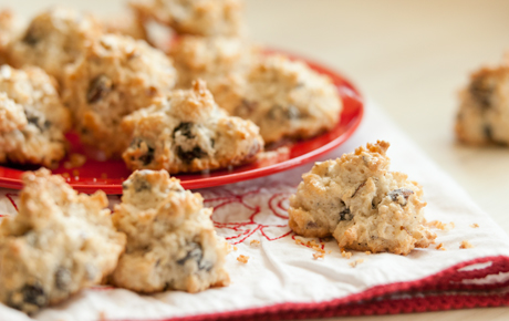 Coconut Macaroons with Cherries and Hazelnuts