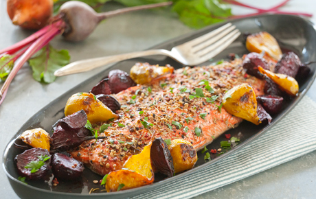 Spice-Crusted Roasted Salmon with Ginger Beets