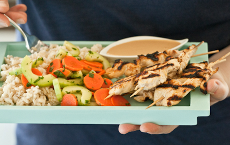 Chicken Satay with Coconut Rice and Cucumber Salad