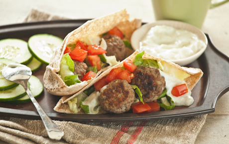 Greek Meatball Pitas