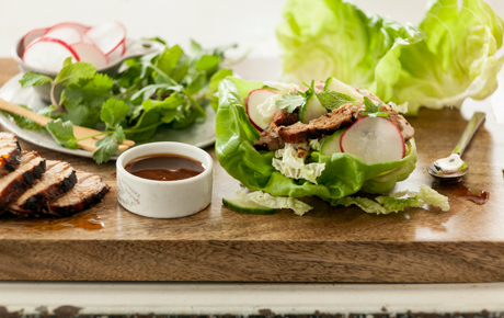 Grilled Teriyaki Pork Lettuce Wraps