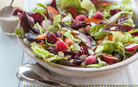 Red Leaf Salad with Plums and Roasted Green Onion Dressing