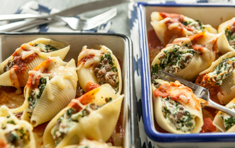 Baked Lentil and Spinach Stuffed Shells Recipe