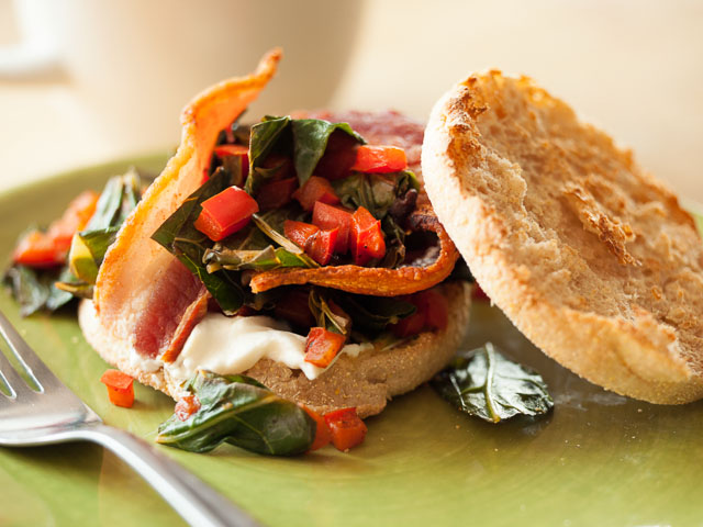 Collard Greens and Bacon English Muffins