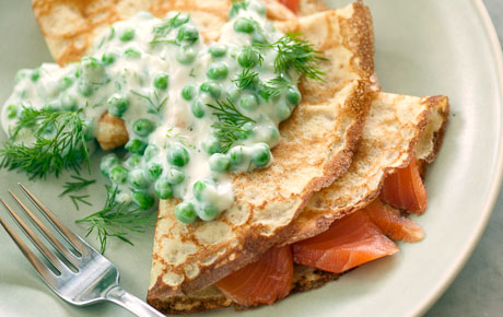 Smoked Salmon Crêpes with Creamed Peas