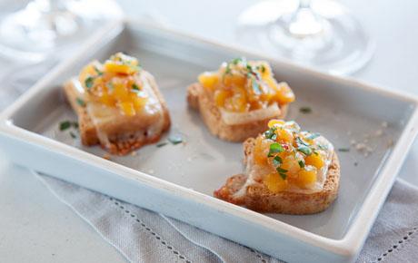 Mini Tropical Cheese Toasts