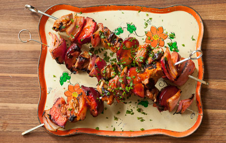 Grilled Barbecue Pork and Plum Kabobs