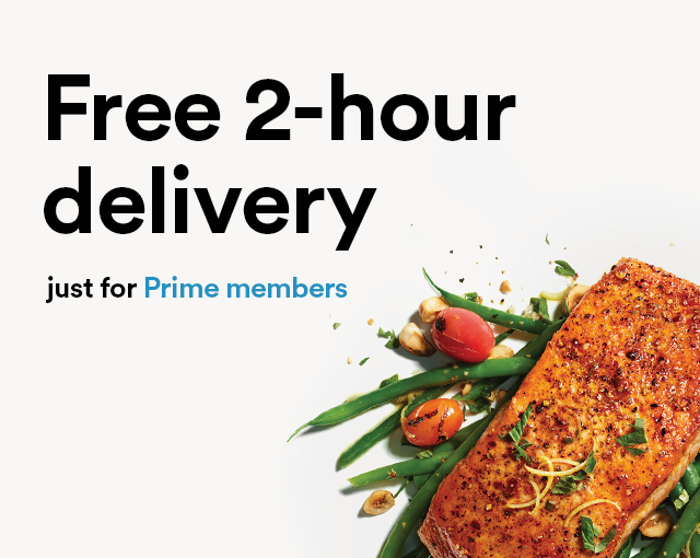Page banner that reads: Free 2-hour delivery just for Prime Members. Links to the Whole Foods Market store front on Amazon.com.