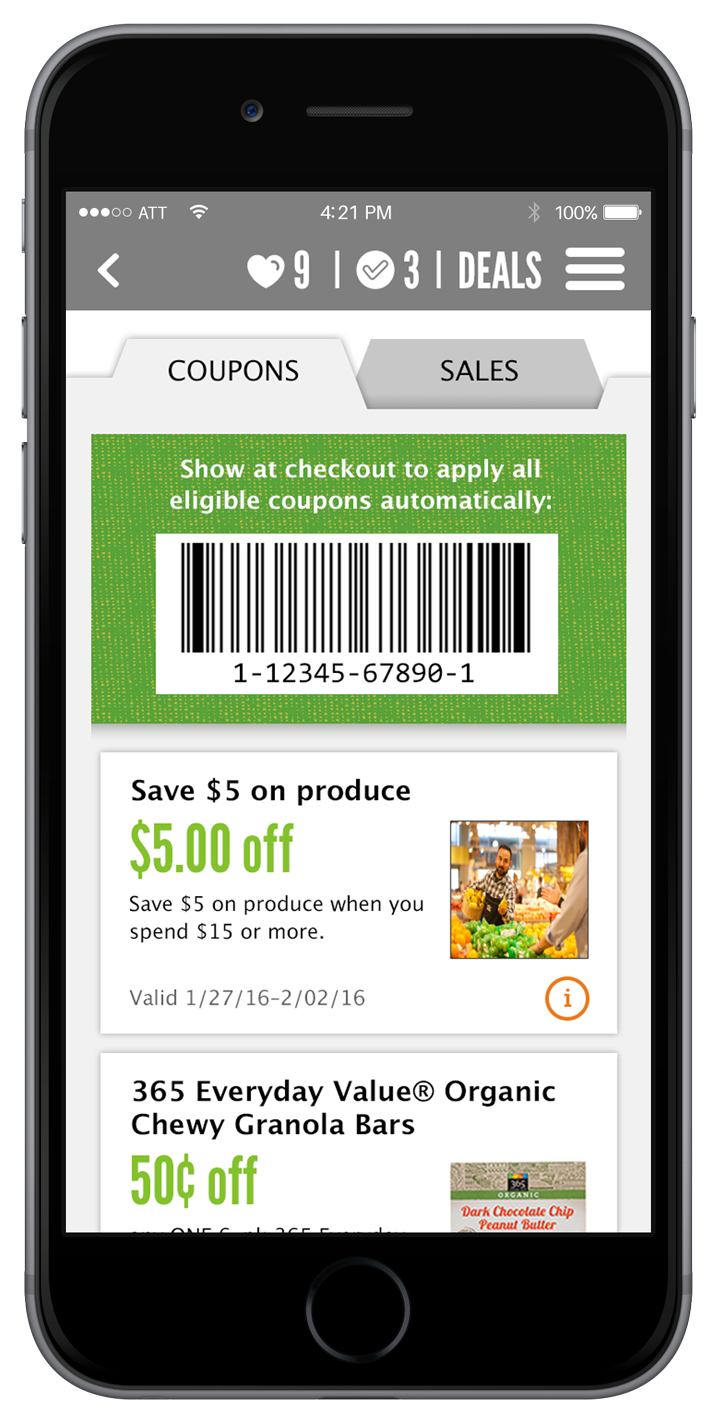 Digital Coupons in the Whole Foods Market App