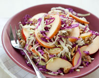 Cabbage Slaw with Gala Apples and Walnuts