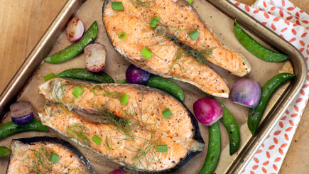 Roasted Salmon Steaks with Snap Peas and Radishes