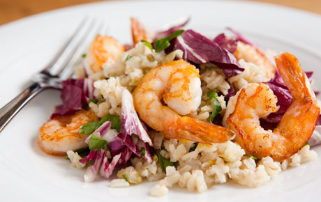 Brown Rice Pilaf with Shrimp & Wilted Radicchio