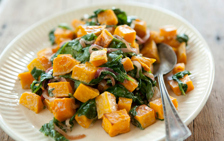 Butternut Squash with Wilted Spinach and Blue Cheese