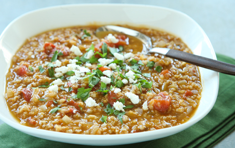 Tomato Bulgur Soup with Warm Spices