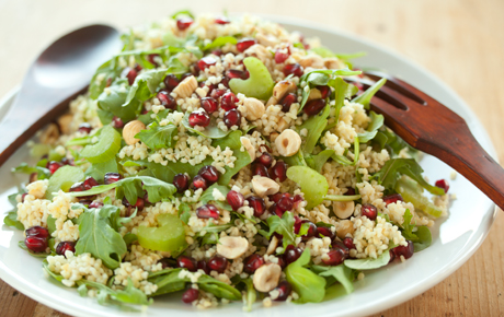 Bulgur with Arugula, Pomegranate and Hazelnuts