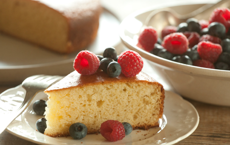 Simple Yogurt Cake with Fresh Berries