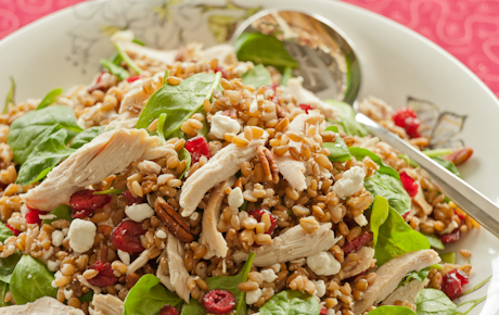 Hearty Rye Berry Salad with Shredded Chicken