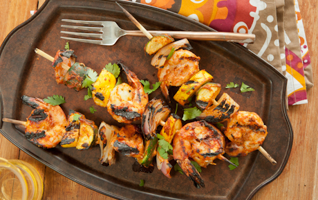 Tandoori-Style Shrimp and Vegetable Kabobs