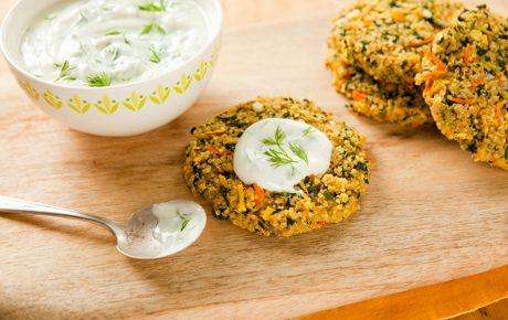 Quinoa Garden Cakes with Lemony Yogurt