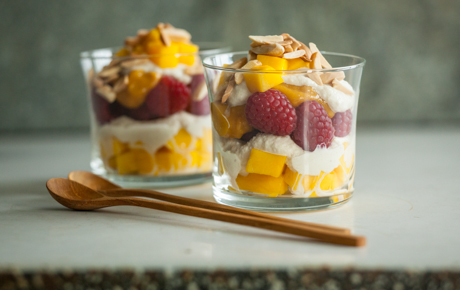 Mango, Raspberry and Cashew Cream Parfaits