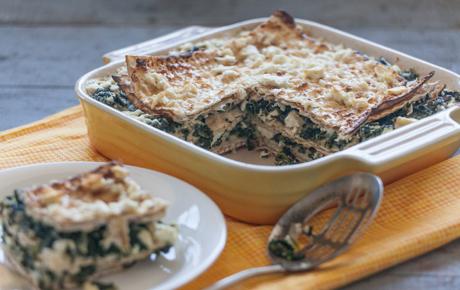 Spinach and Feta Matzoh Pie