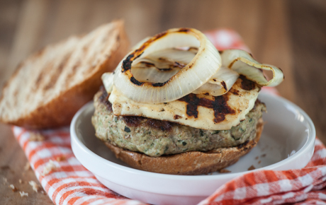 Pesto Turkey Burgers with Grilled Halloumi