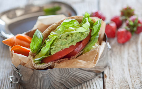 Avocado, Lettuce and Tomato Pita Pockets