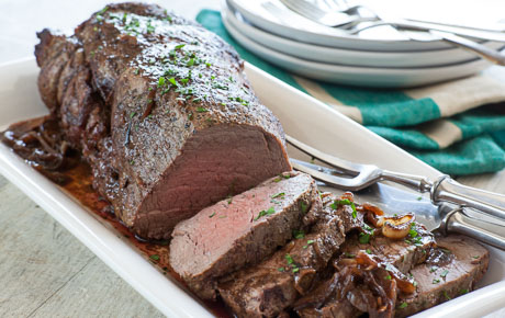 Classic beef tenderloin with red wine-shallot pan sauce