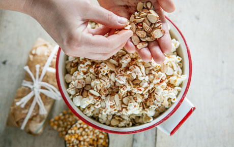 Almond-smoked paprika popcorn packets