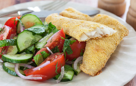 Cornmeal-Crusted Turbot with Tomato and Cucumber Salad