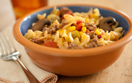 Dutch Oven Beef and Noodle Casserole