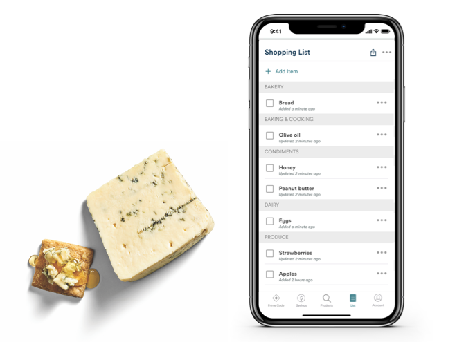 Shopping List on phone example