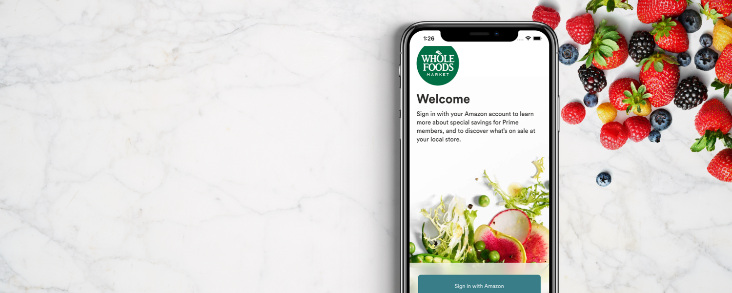 Welcome screen for the Whole Foods Market app