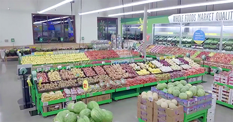 interior of Whole Foods 365 store produce section