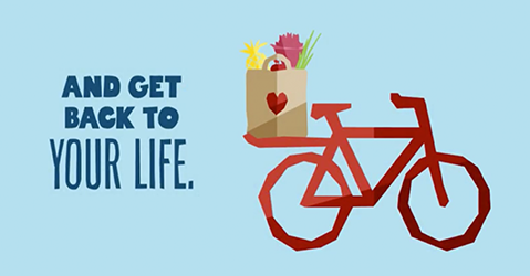 And get back to your life. with illustration of bike