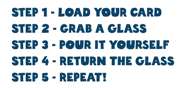 Step 1: Load your card. Step 2: Grab your glass. Step 3: Pour it yourself. Step 4: Return the glass. Step 5: Repeat!