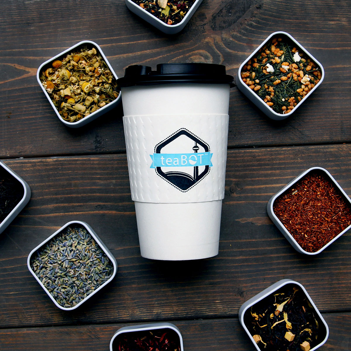 raw tea and to-go cup