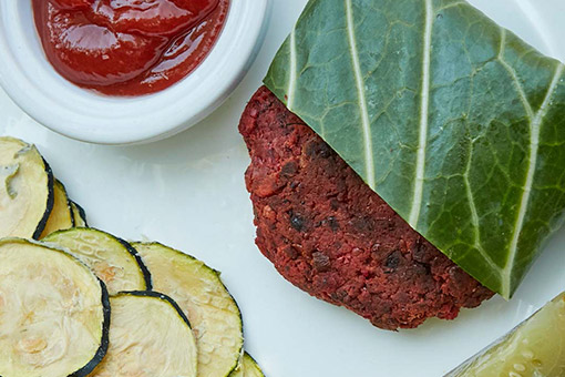 beet patty with zucchini chips